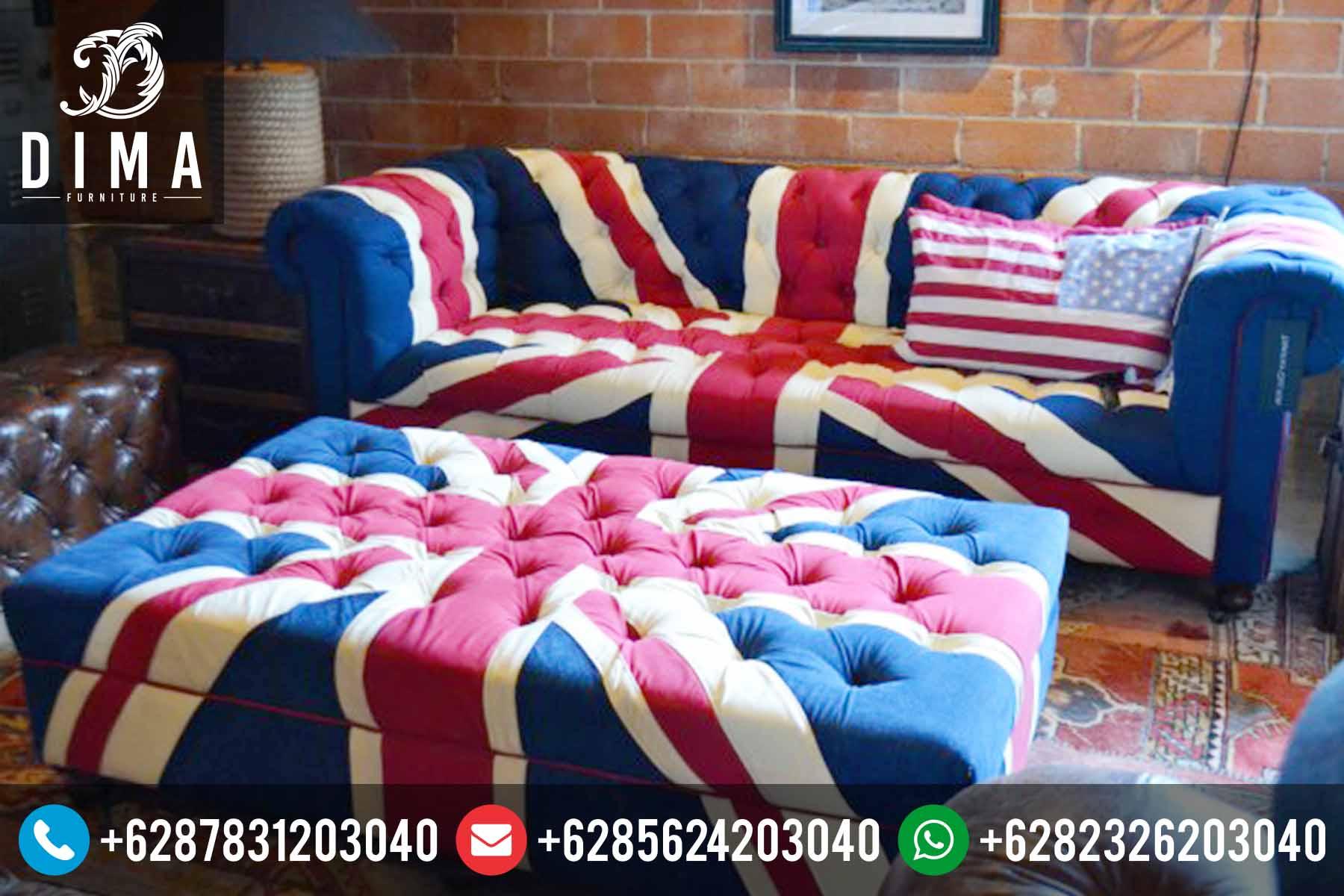 Living Room Set Sofa Minimalis Modern Vintage Bendera Inggris Terbaru DF-0072