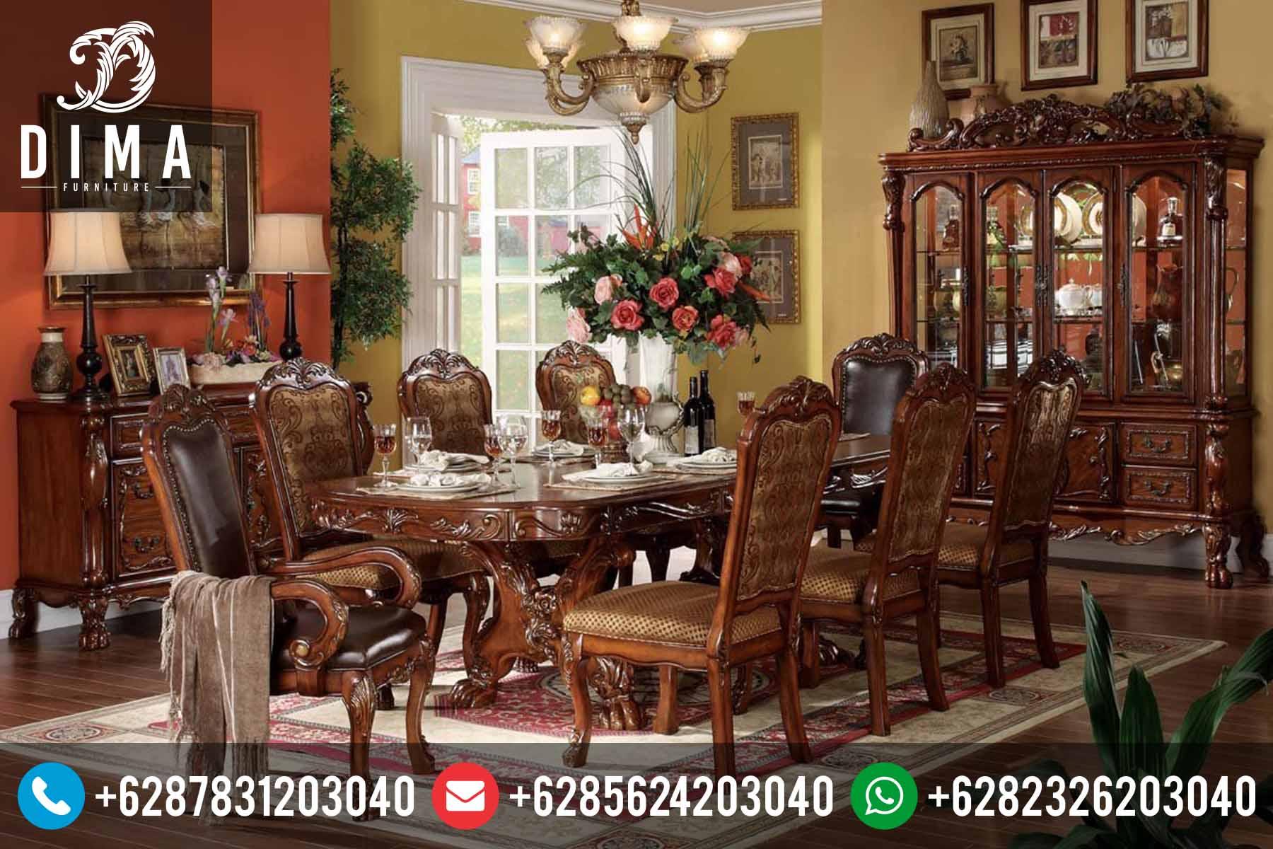 Set Meja Makan Murah Jepara Terbaru Klasik Mewah Padestal DF-0075