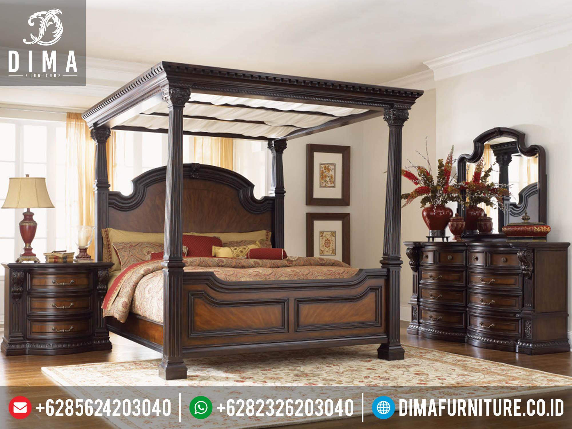 Set Kamar Tidur Klasik Minimalis Mewah King Canopy Mebel Jepara Murah Terbaru DF-0128