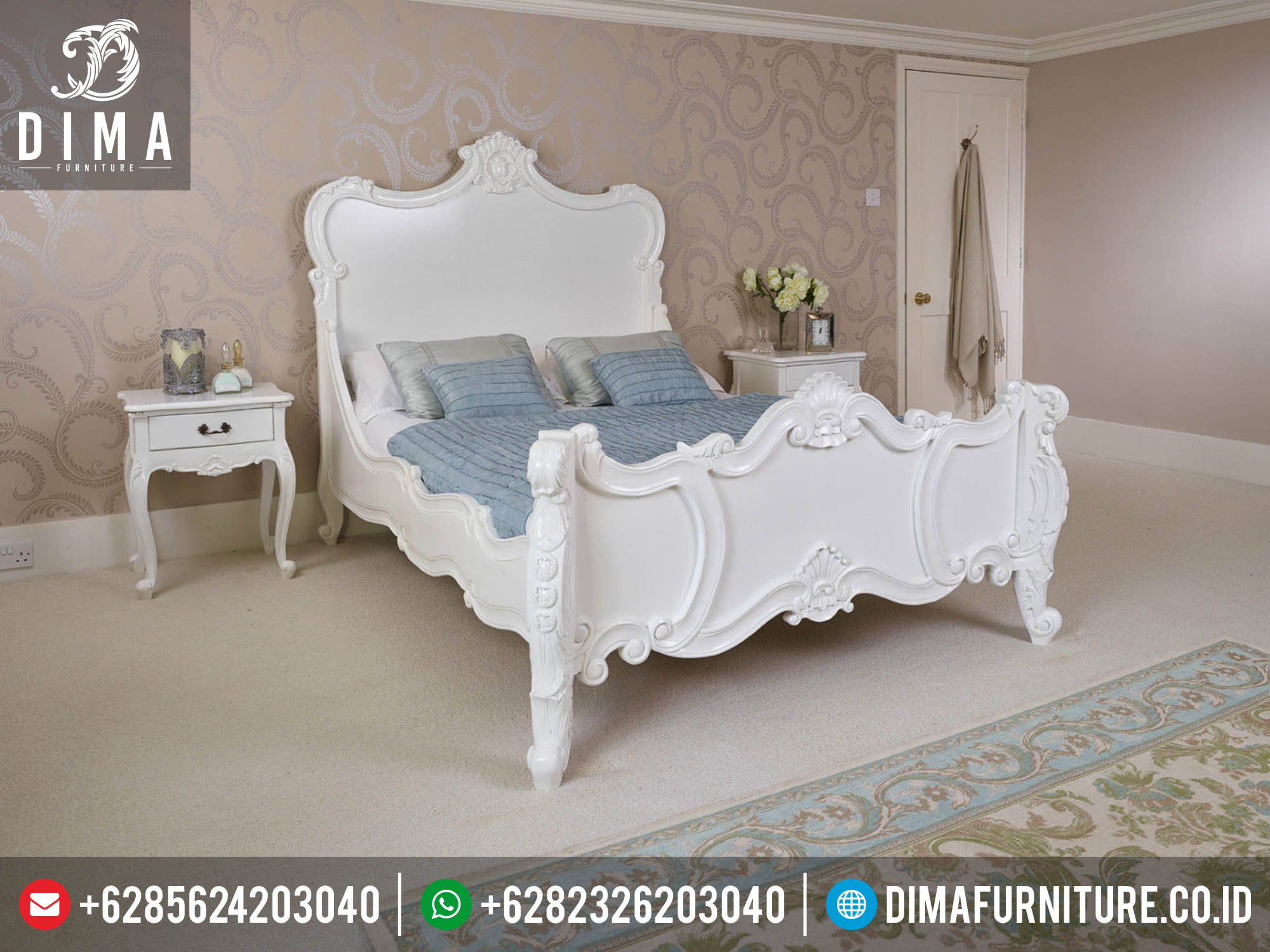 Tempat Tidur Minimalis Klasik Murah Ukiran Jepara Terbaru Finishing Cat Duco DF-0123