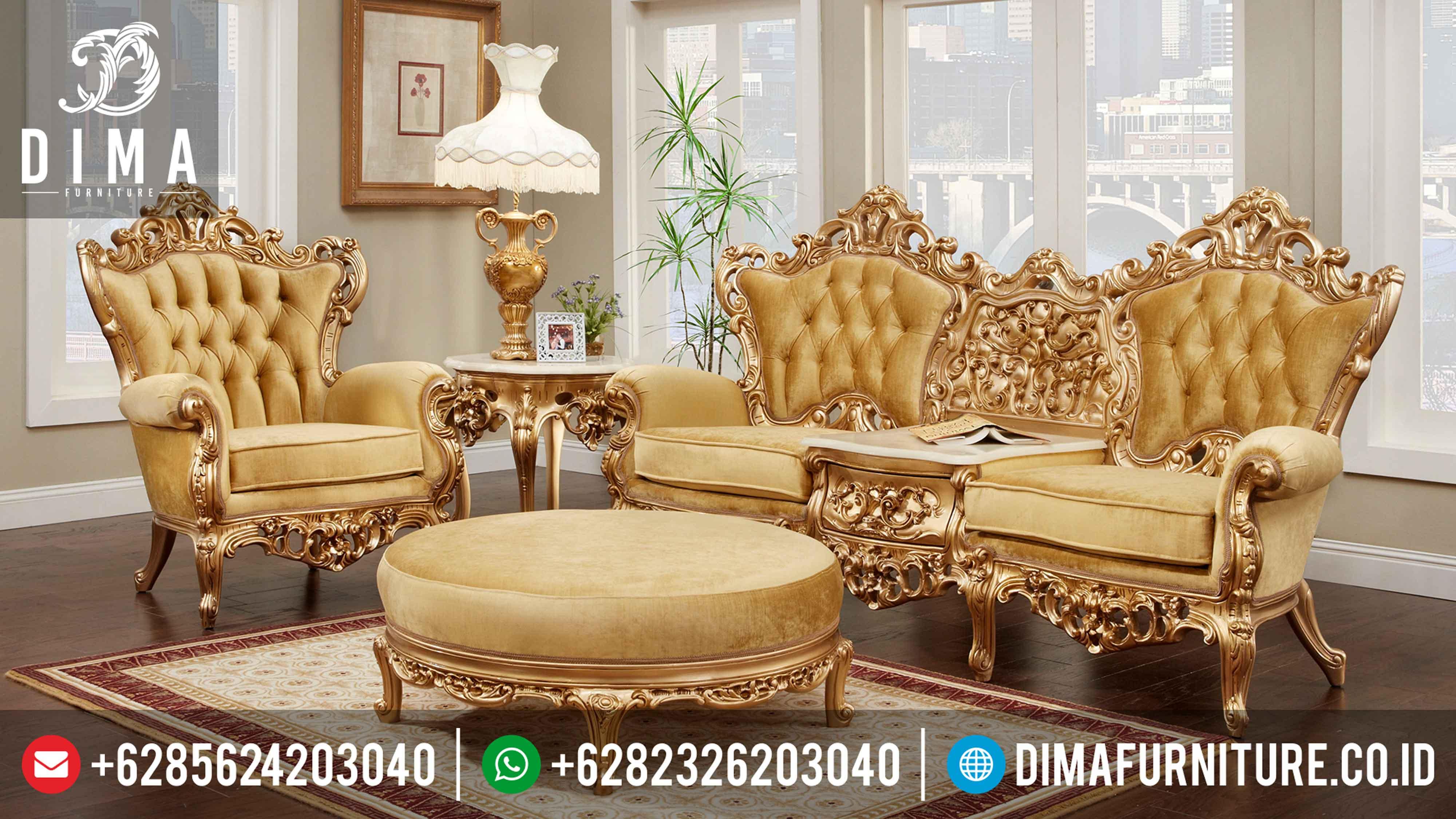 Set Sofa Kursi Ruang Tamu Mewah Duco Emas Terbaru DF-0297