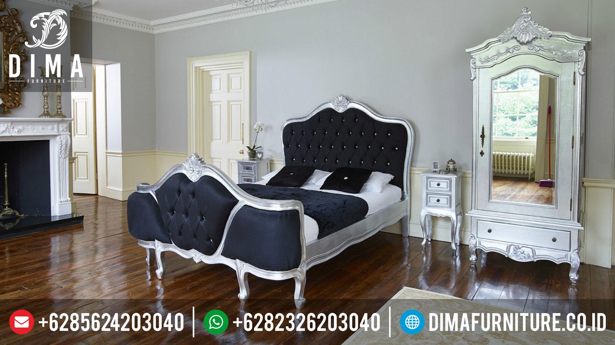 Tempat Tidur Minimalis Perak, Kamar Set Rococo Mewah, Set Kamar Tidur Terbaru DF-0343