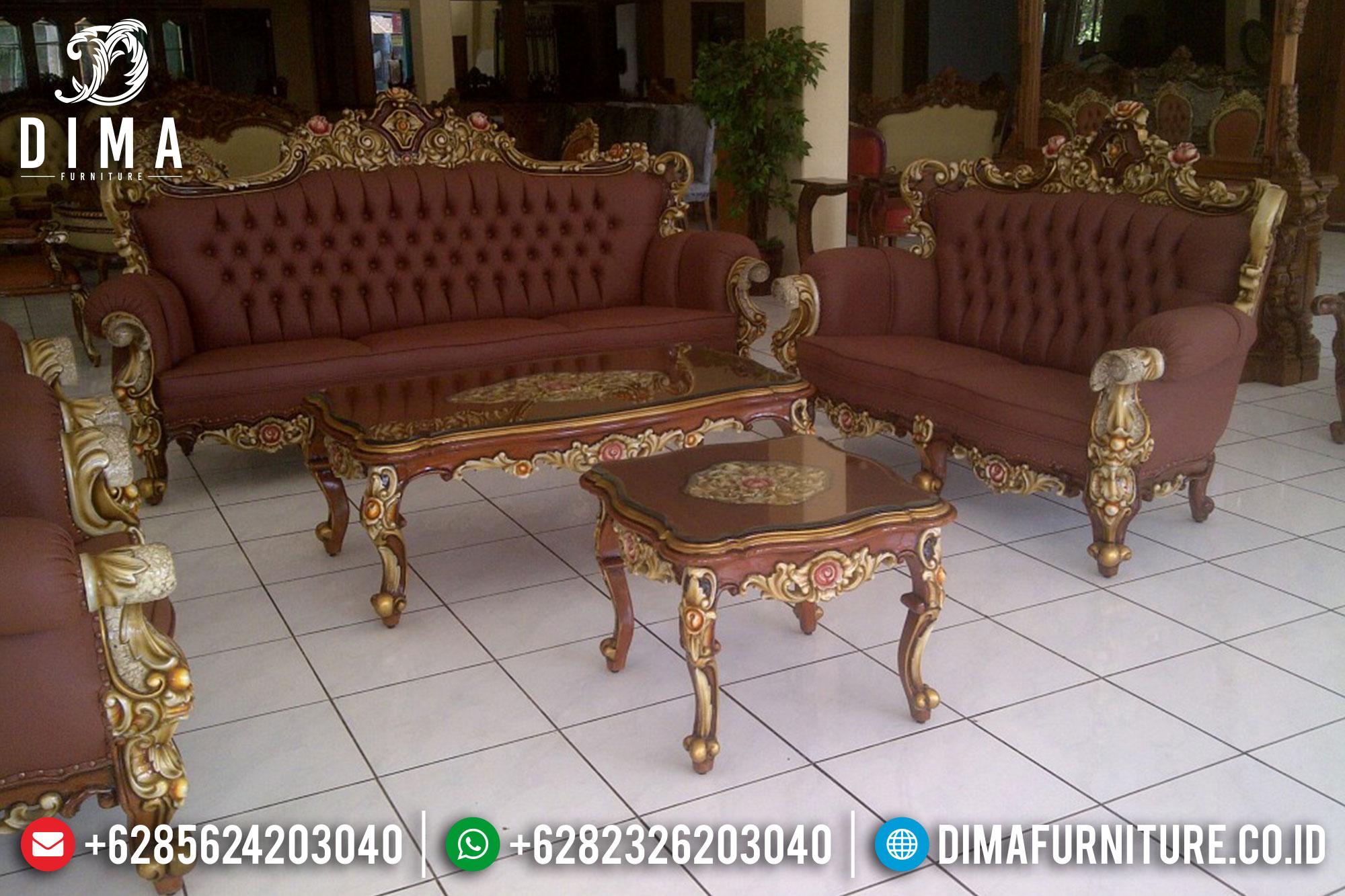 1 Set Kursi Sofa Tamu Ukir Jati Jepara Mewah Klasik Terbaru DF-0363