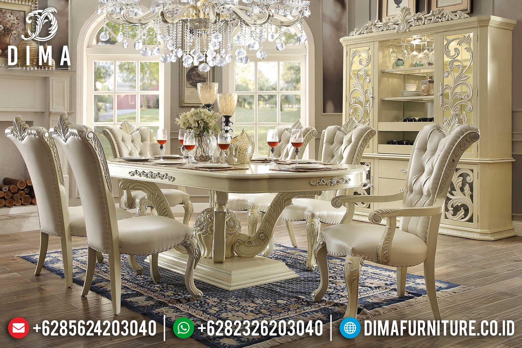 Mebel Jepara Terbaru Set Kursi Meja Makan Mewah Minimalis Ivory DF-0354