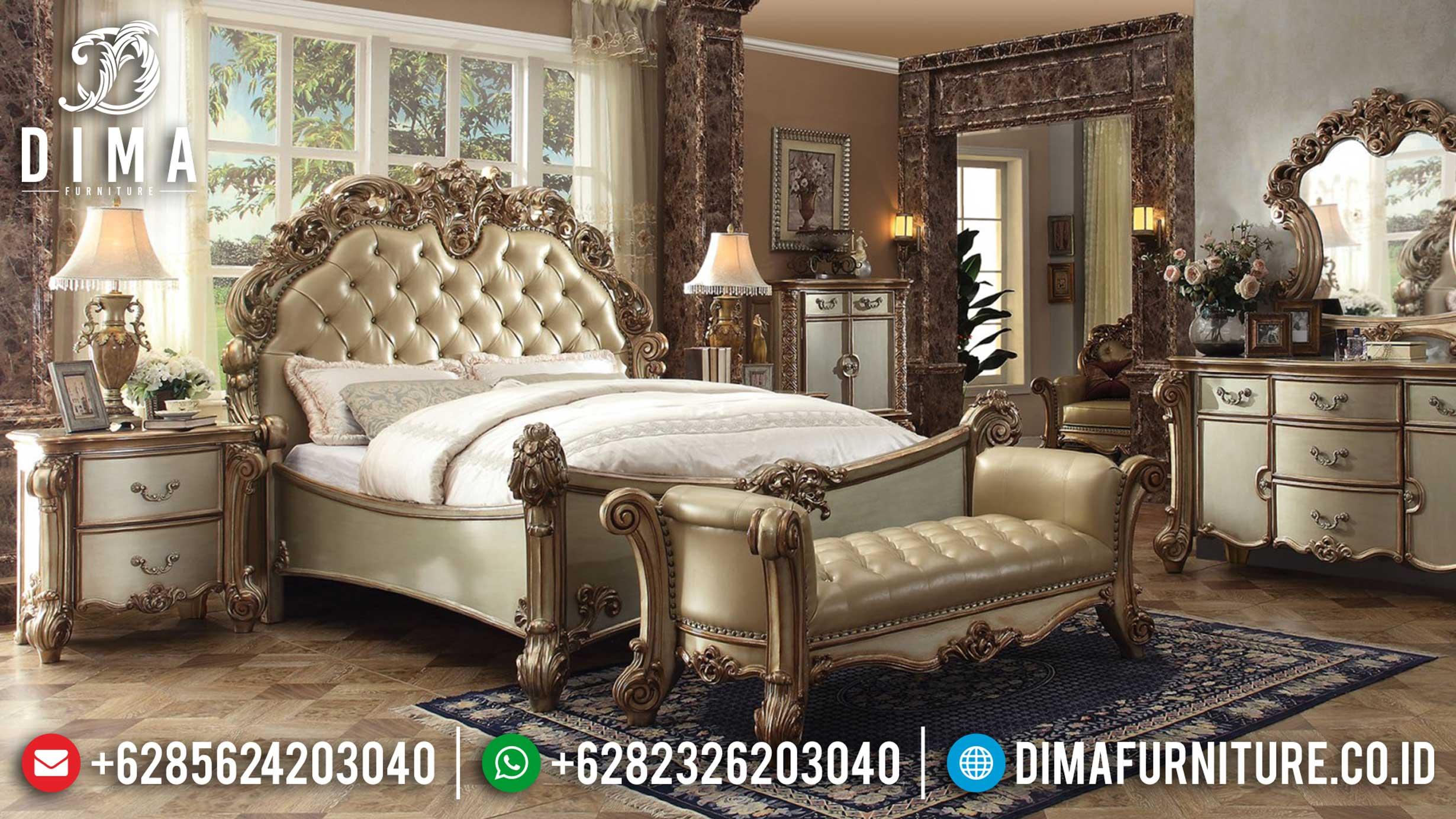 Set Kamar Tidur Mewah Ukiran Klasik, Kamar Set Mewah Jepara, Tempat Tidur Terbaru DF-0379