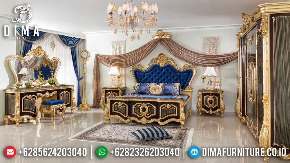 Kamar Set Mewah Jepara Cat Duco Emas Luxury Carving Furniture DF-0426