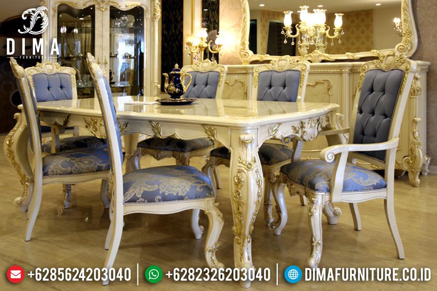 Mebel Murah Terbaru Meja Makan Mewah Ukir Jepara Duco Putih Emas DF-0437