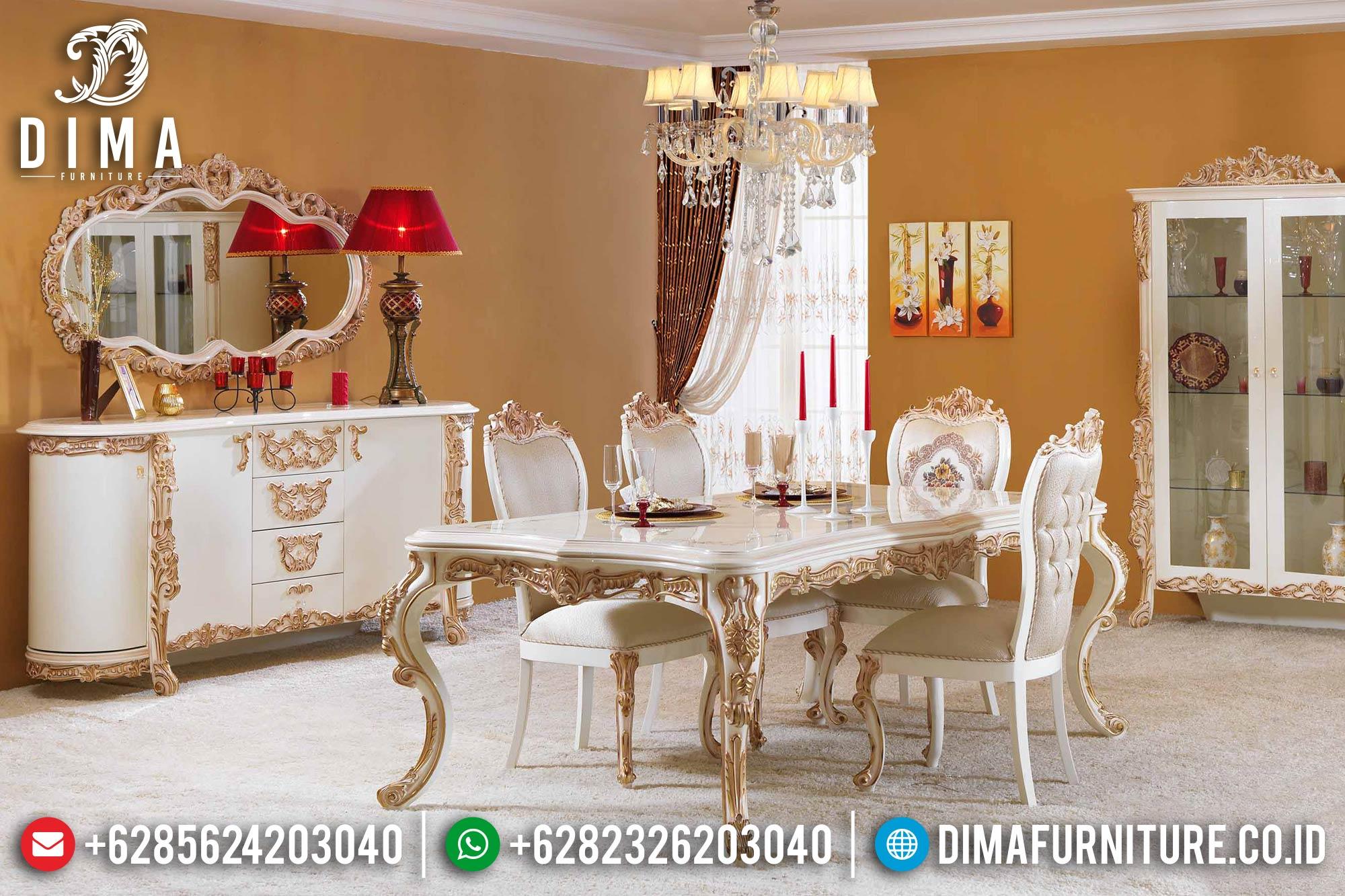 Meja Makan Jepara Set Ukiran Mewah Terbaru Duco Putih Emas DF-0381