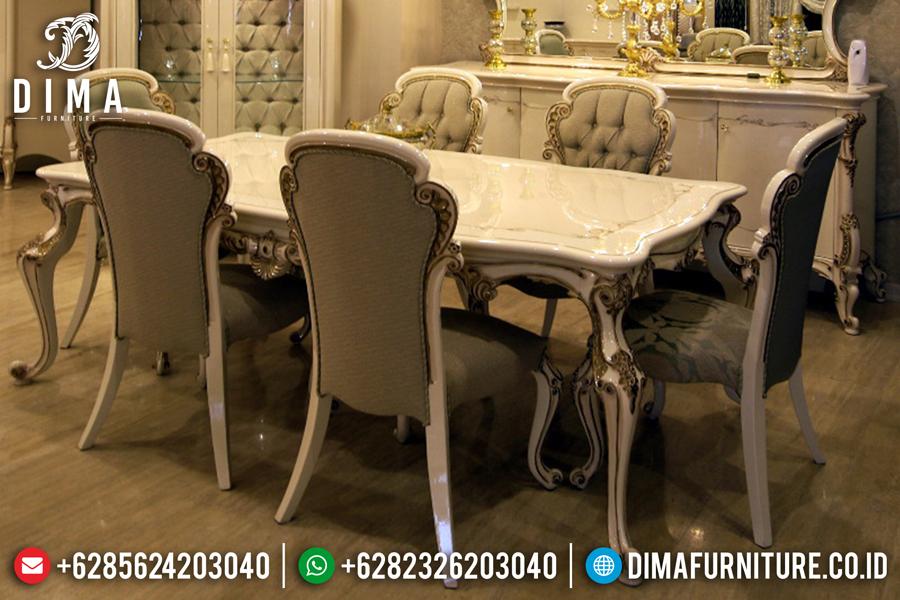 Meja Makan Mewah Jepara, Set Kursi Makan Duco Putih, Ruang Makan Mewah Terbaru DF-0435
