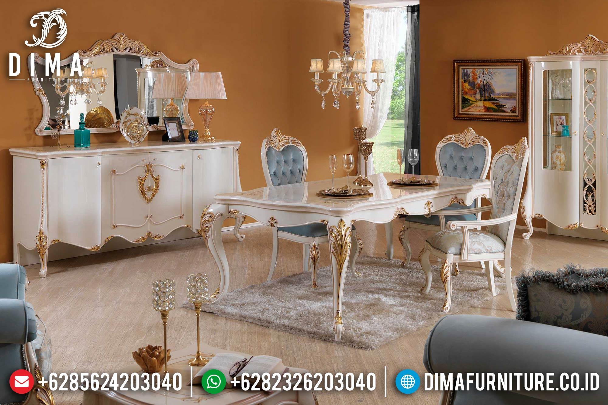 Set Meja Makan Jepara Mewah Terbaru Murah Duco Putih Emas DF-0382