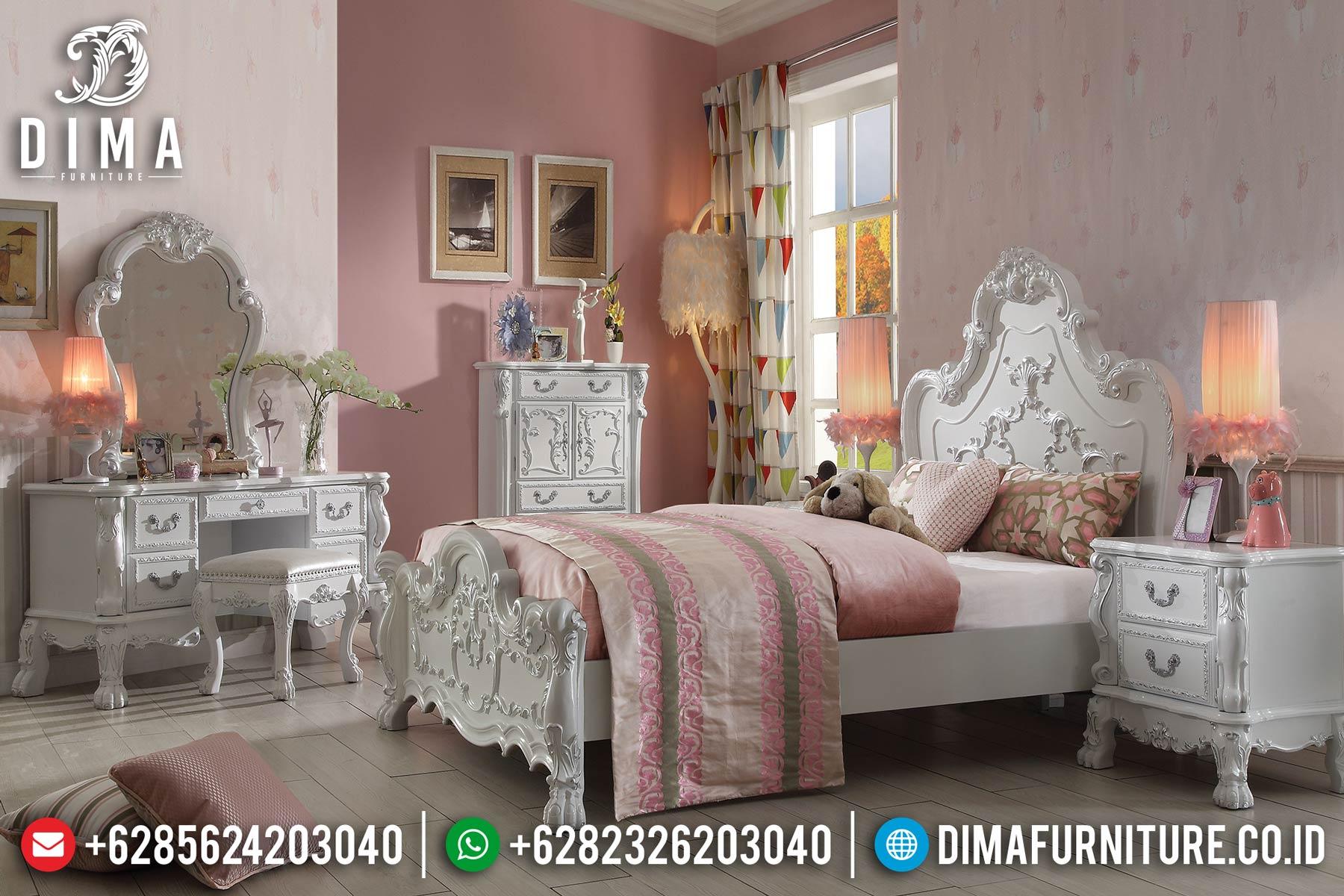 Set Kamar Tidur Mewah Jepara, Tempat Tidur Ukiran Klasik, Kamar Set Mewah DF-0462 Gambar 1