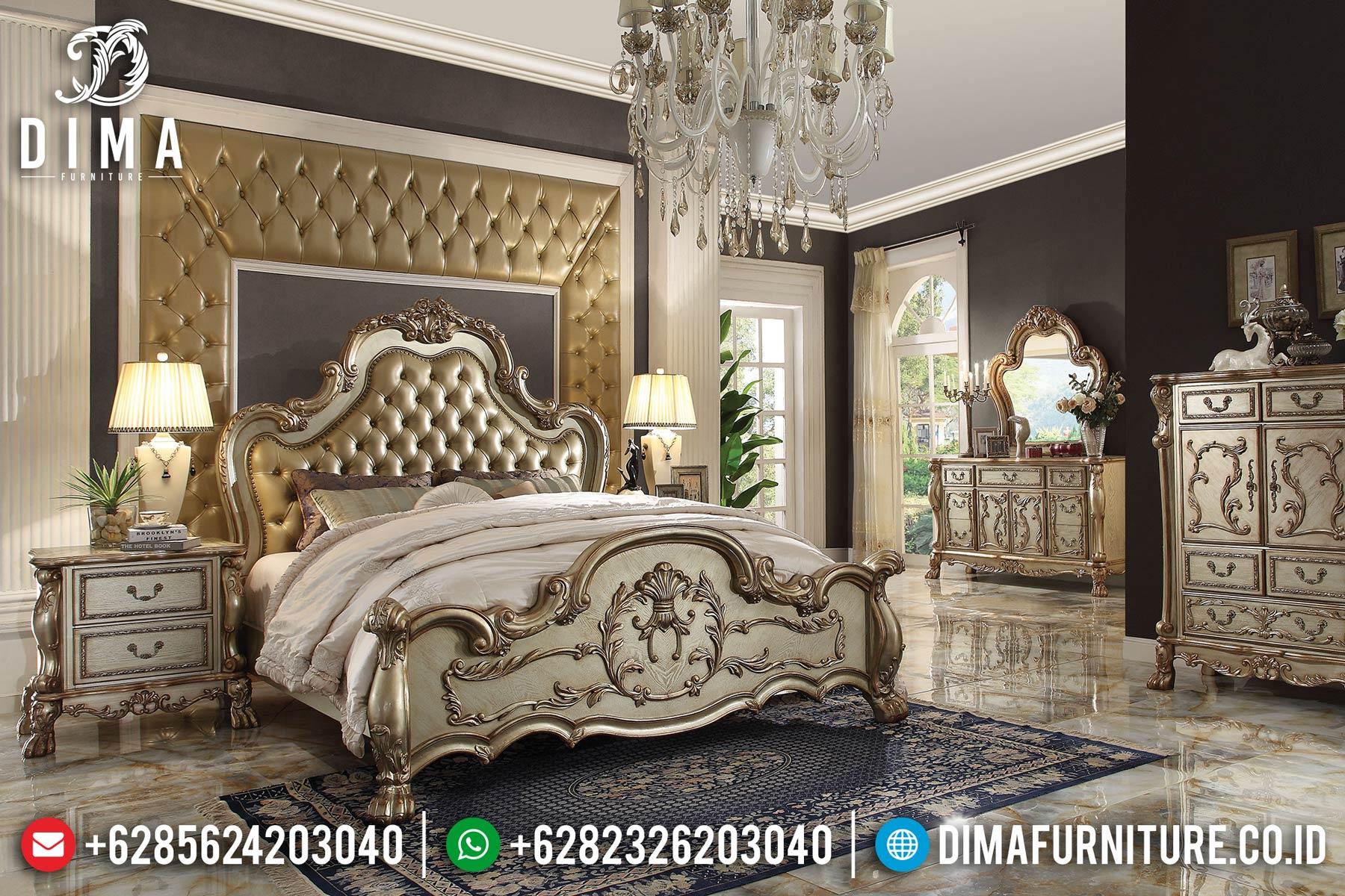 Set Kamar Tidur Mewah Jepara, Tempat Tidur Ukiran Klasik, Kamar Set Mewah DF-0462