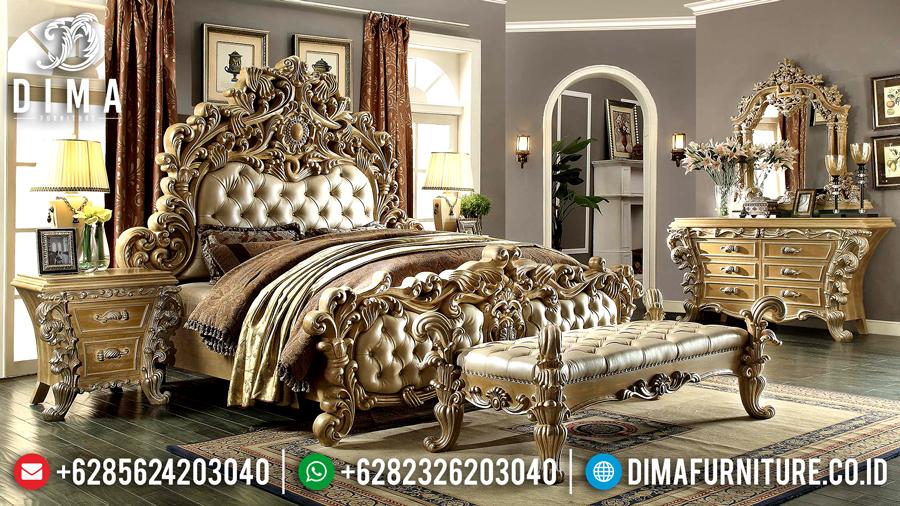 Set Tempat Tidur Klasik, Kamar Set Jepara Mewah, Set Kamar Tidur Pengantin Mewah DF-0454