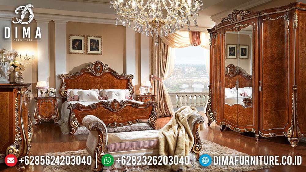 Kamar Set Jepara Mewah, Set Kamar Tidur Jati, Tempat Tidur Klasik Mewah DF-0475 Gambar 1