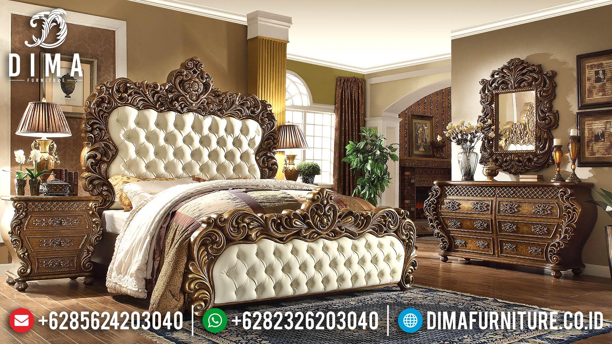 Kamar Set Klasik Mewah, Set Kamar Tidur Pengantin Jepara, Tempat Tidur Mewah DF-0482
