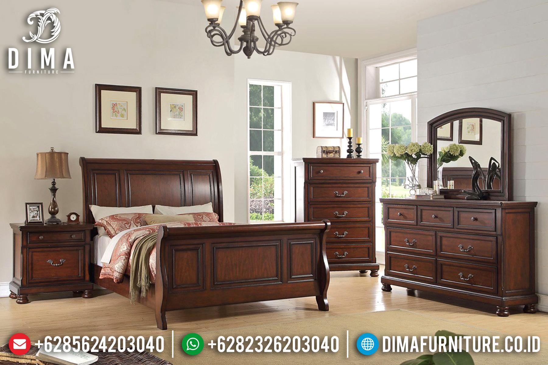 Kamar Set Minimalis Mewah Jati Jepara Luxury Natural Terbaru DF-0493