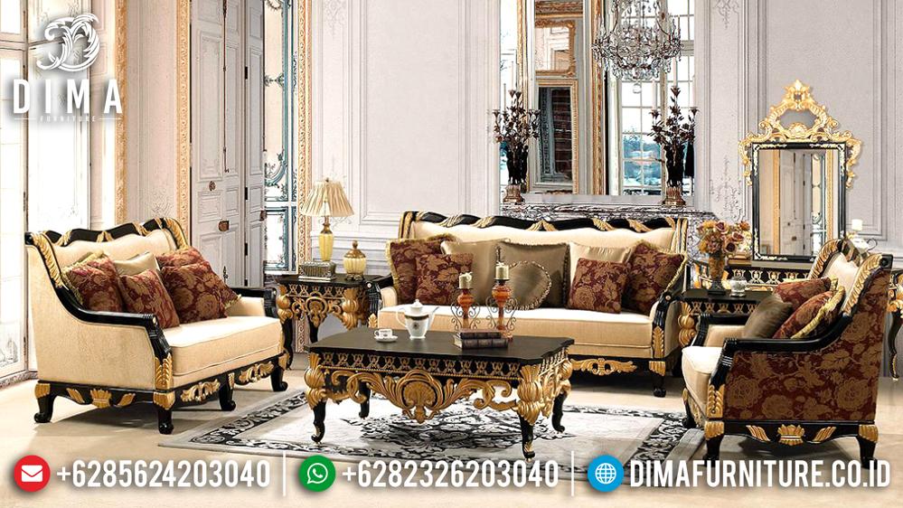 Sofa Tamu Mewah Jepara Klasik Terbaru Duco Hitam Emas Luxury Eropa DF-0489