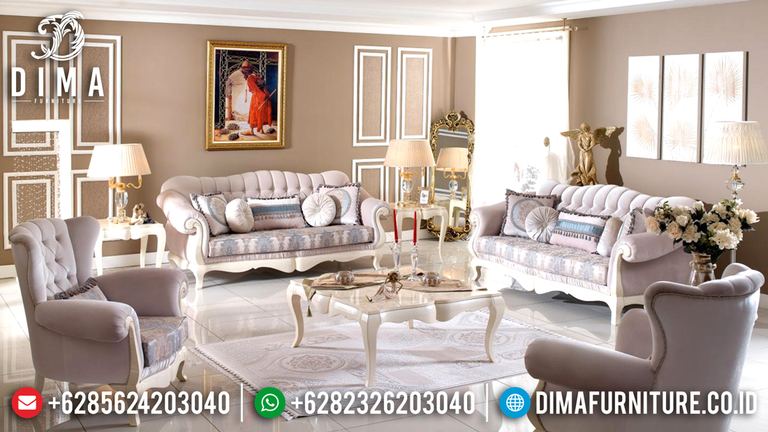 Kursi Sofa Ruang Tamu Mewah Minimalis Duco Ivory Jepara Terbaru DF-0497