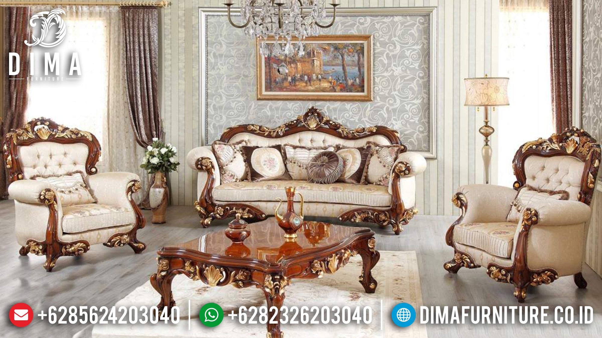 Set Kursi Sofa Tamu Jati Jepara Mewah Natural Emas DF-0512