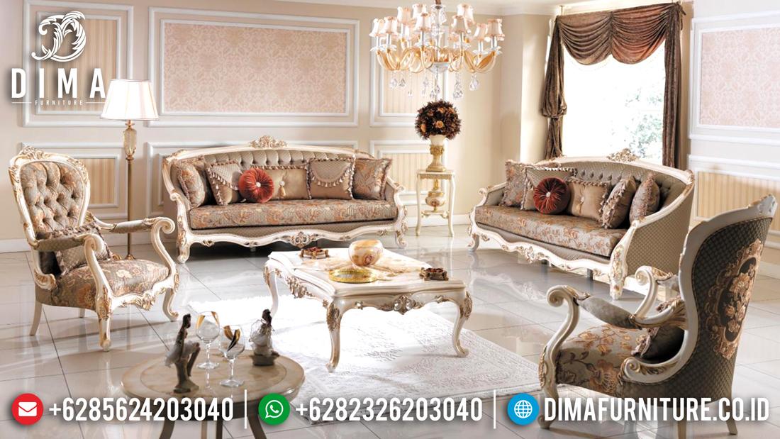 Sofa Tamu Jepara Mewah Terbaru Milat Koltuk Duco Ivory Emas DF-0495