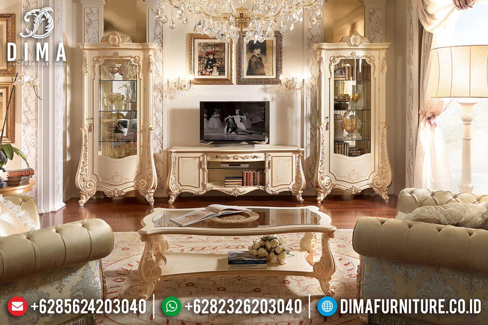 Bufet TV Jepara Mewah Terbaru Firenze Duco Ivory Hand Painting DF-0517