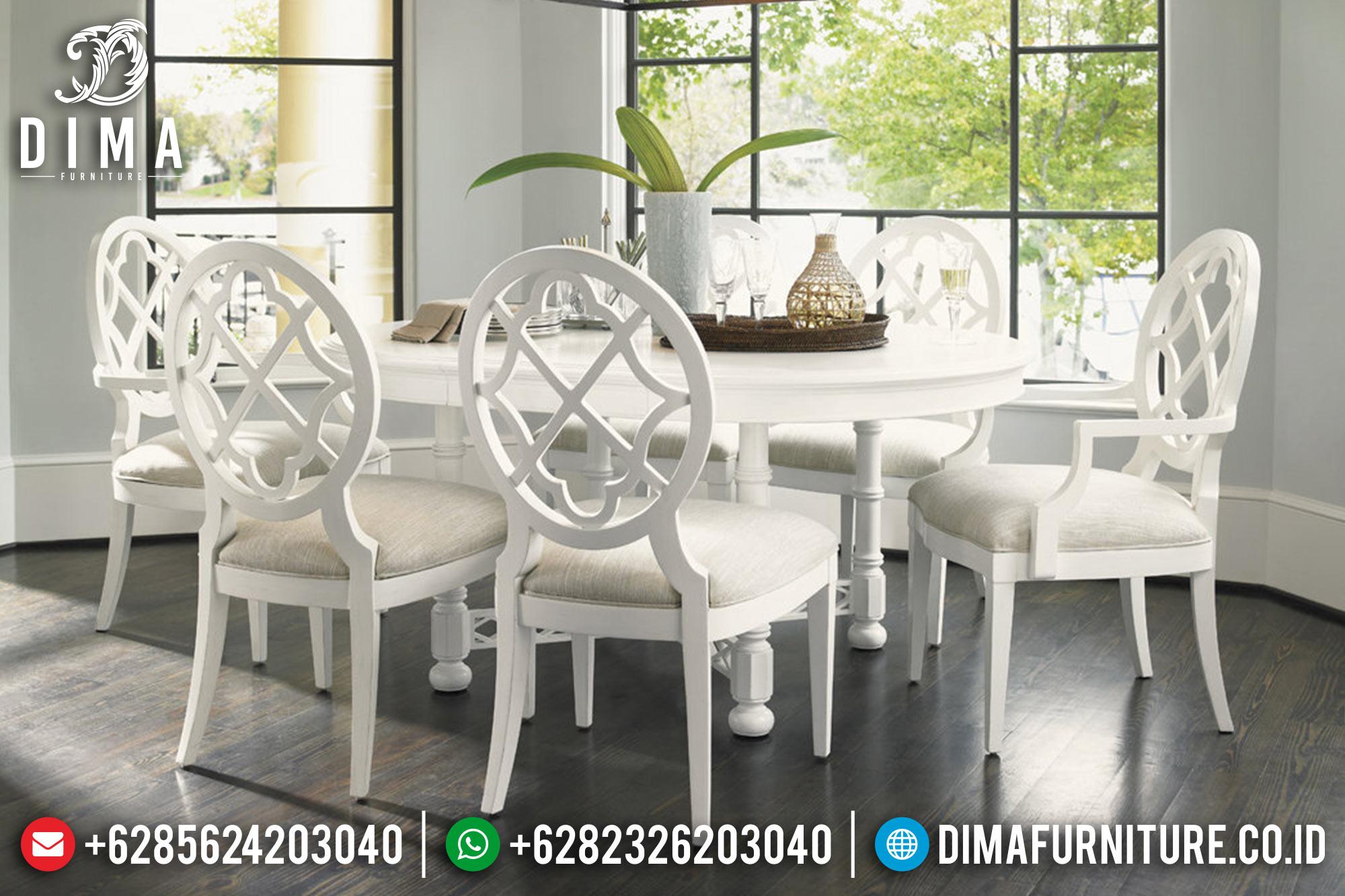 Meja Makan Jepara Minimalis Mewah Terbaru Duco Putih Marlin DF-0539