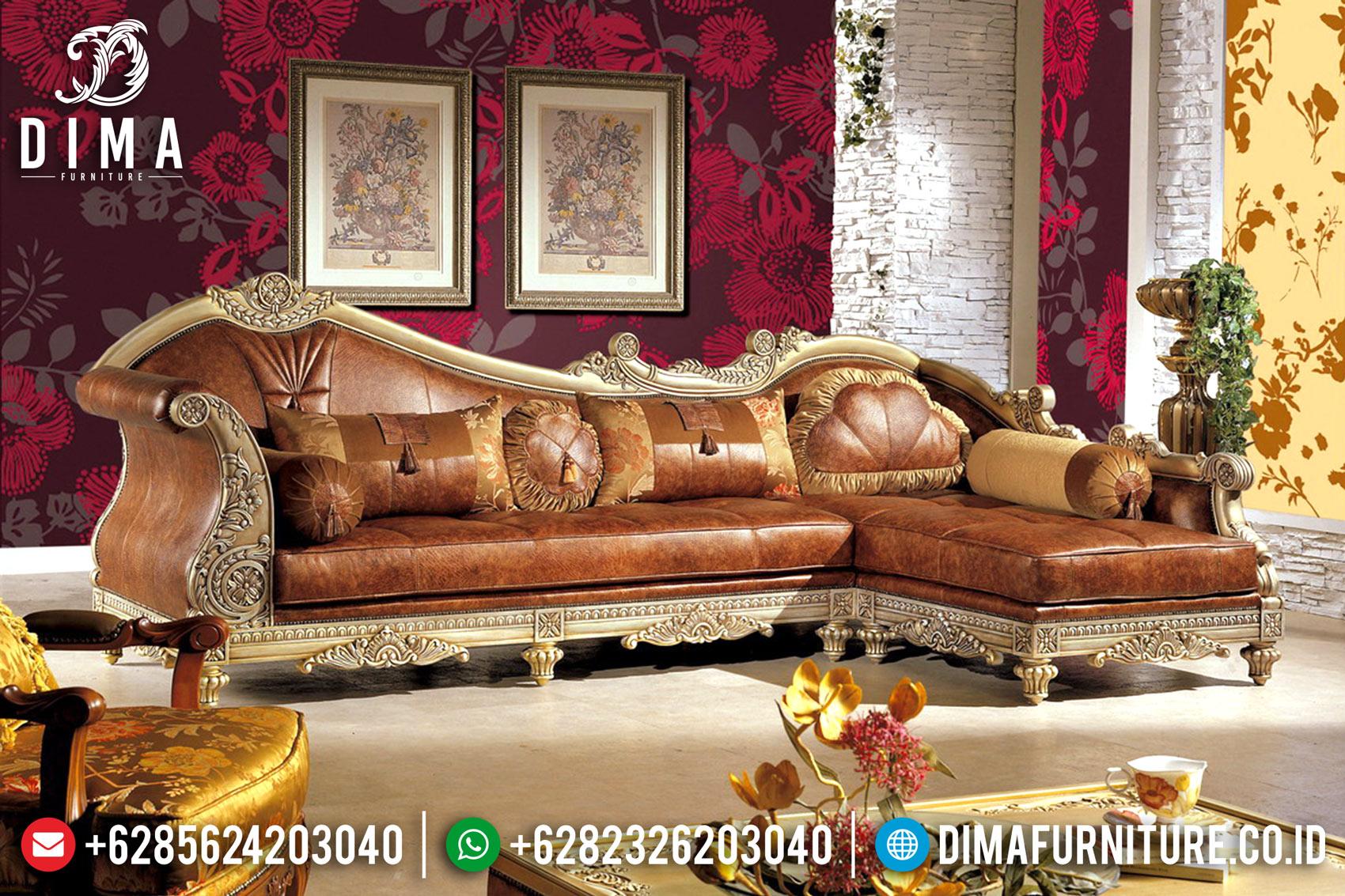 Set Sofa Tamu Jepara Mewah Terbaru Sudut L Shereen DF-0537
