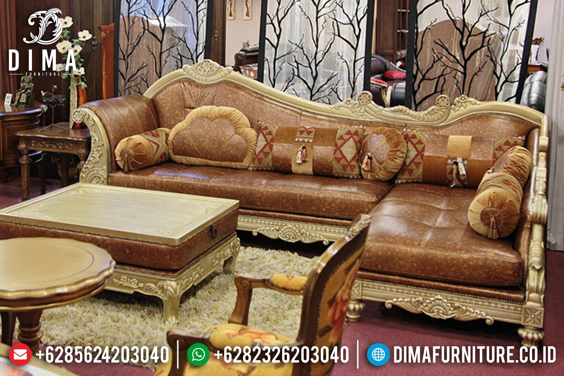 Sofa Tamu Mewah Jepara Sudut L Model Terbaru Restonic DF-0535