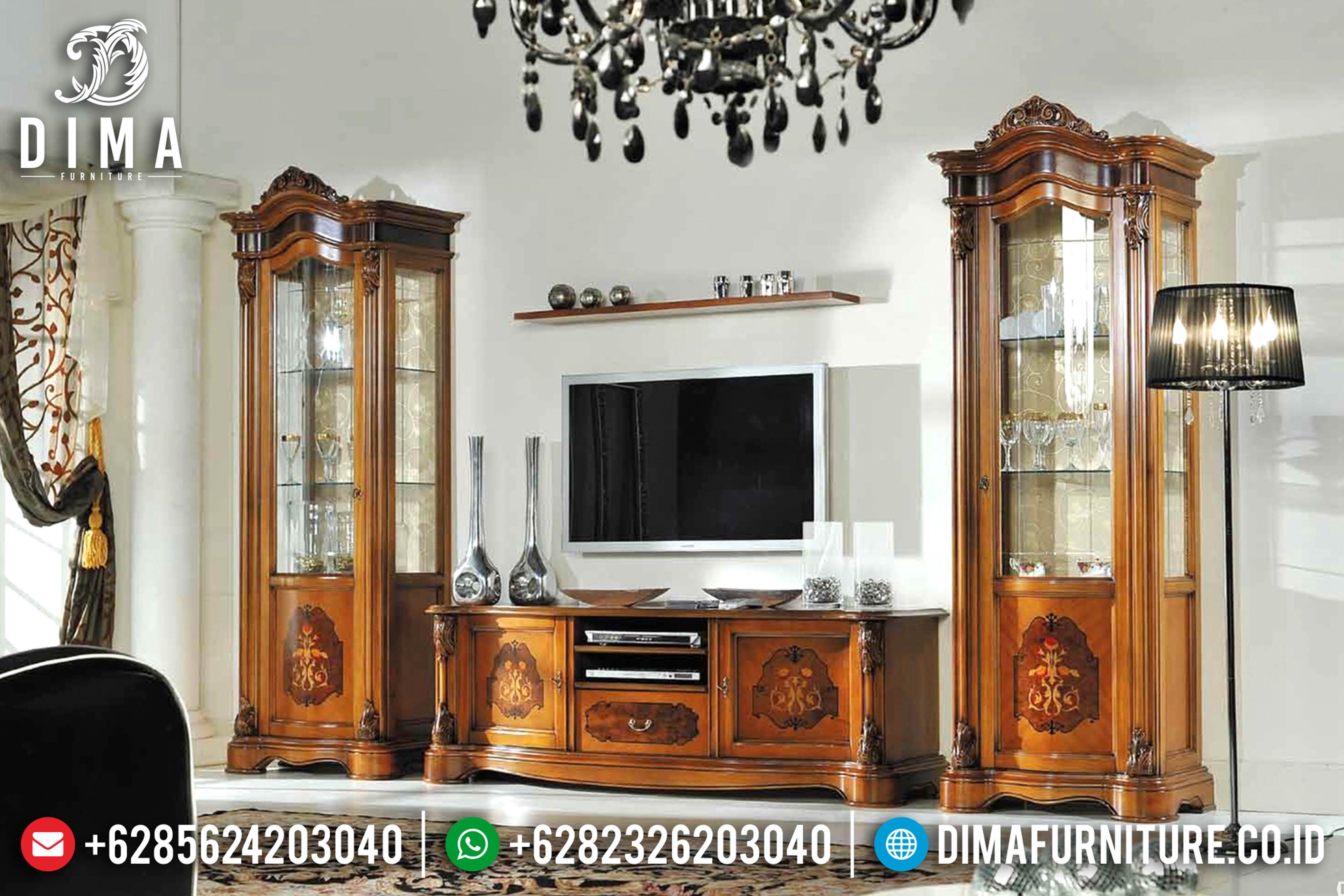 Jual 1 Set Bufet TV Jepara Mewah Minimalis Jati TPK Terbaru Luigi DF-0598