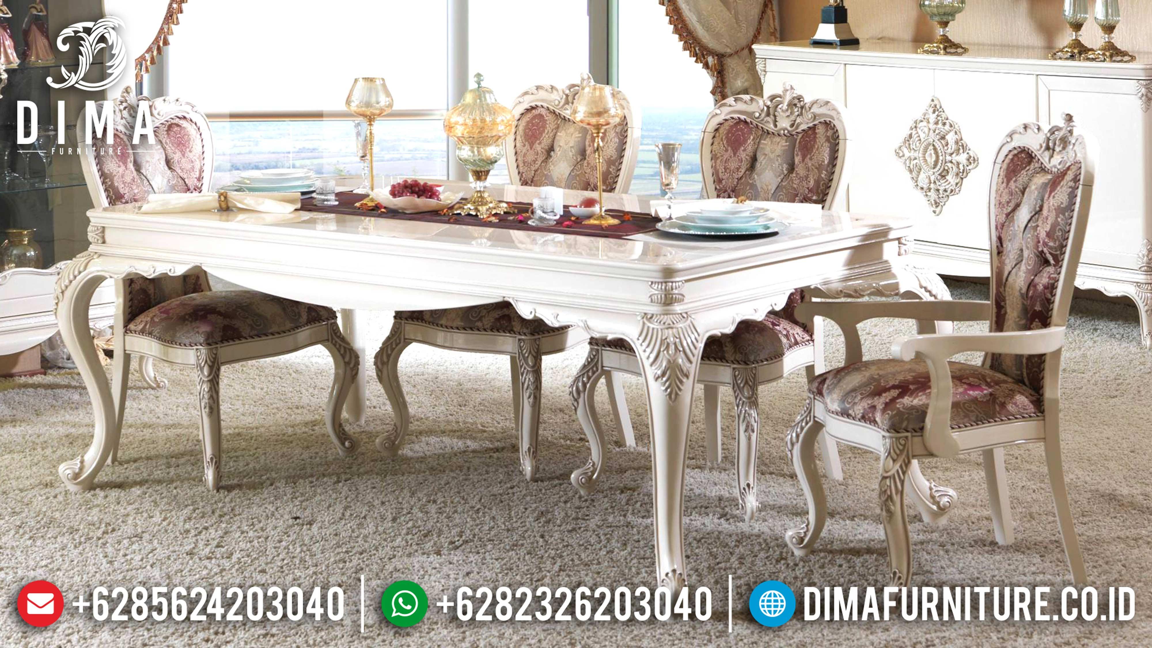 Set Meja Makan Mewah Jepara Ukiran Classic Duco Ivory DF-0592