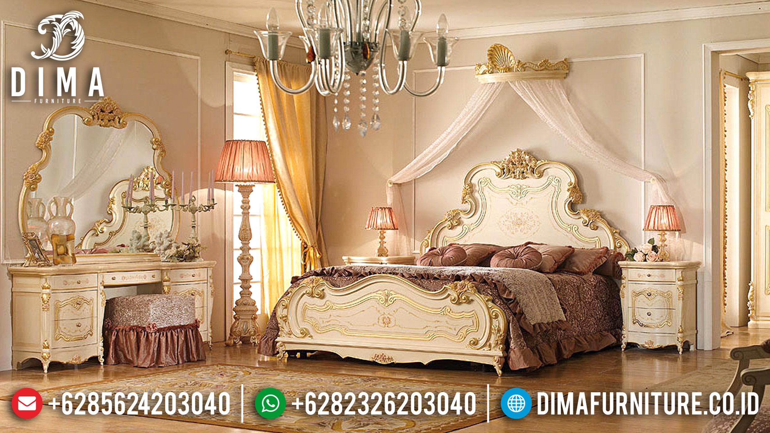Tempat Tidur Mewah Klasik Ukiran Jepara Terbaru Duco Ivory Versailles DF-0599