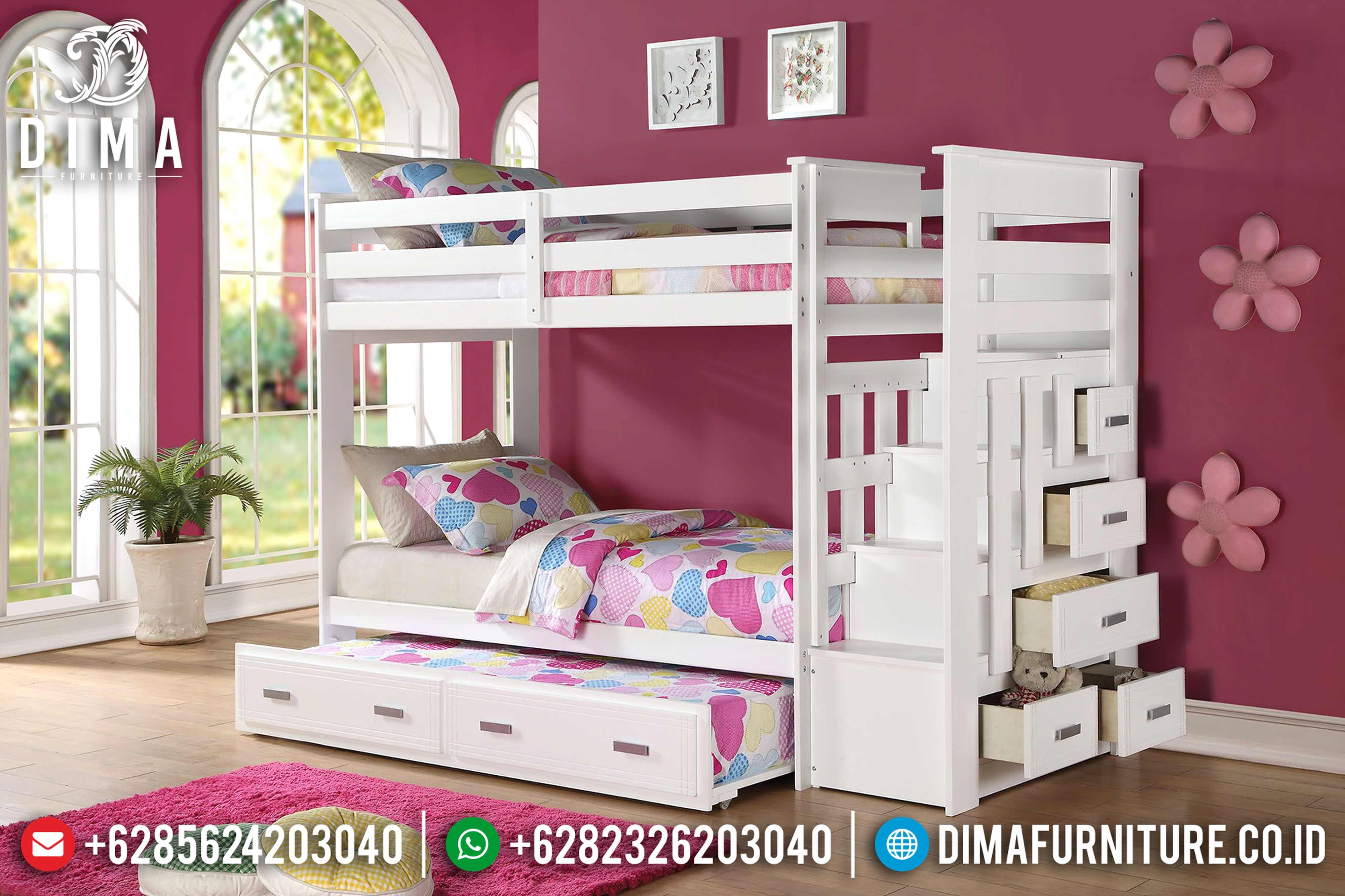 Tempat Tidur Anak Model Tingkat Minimalis Mewah Terbaru Duco Putih DF-0611