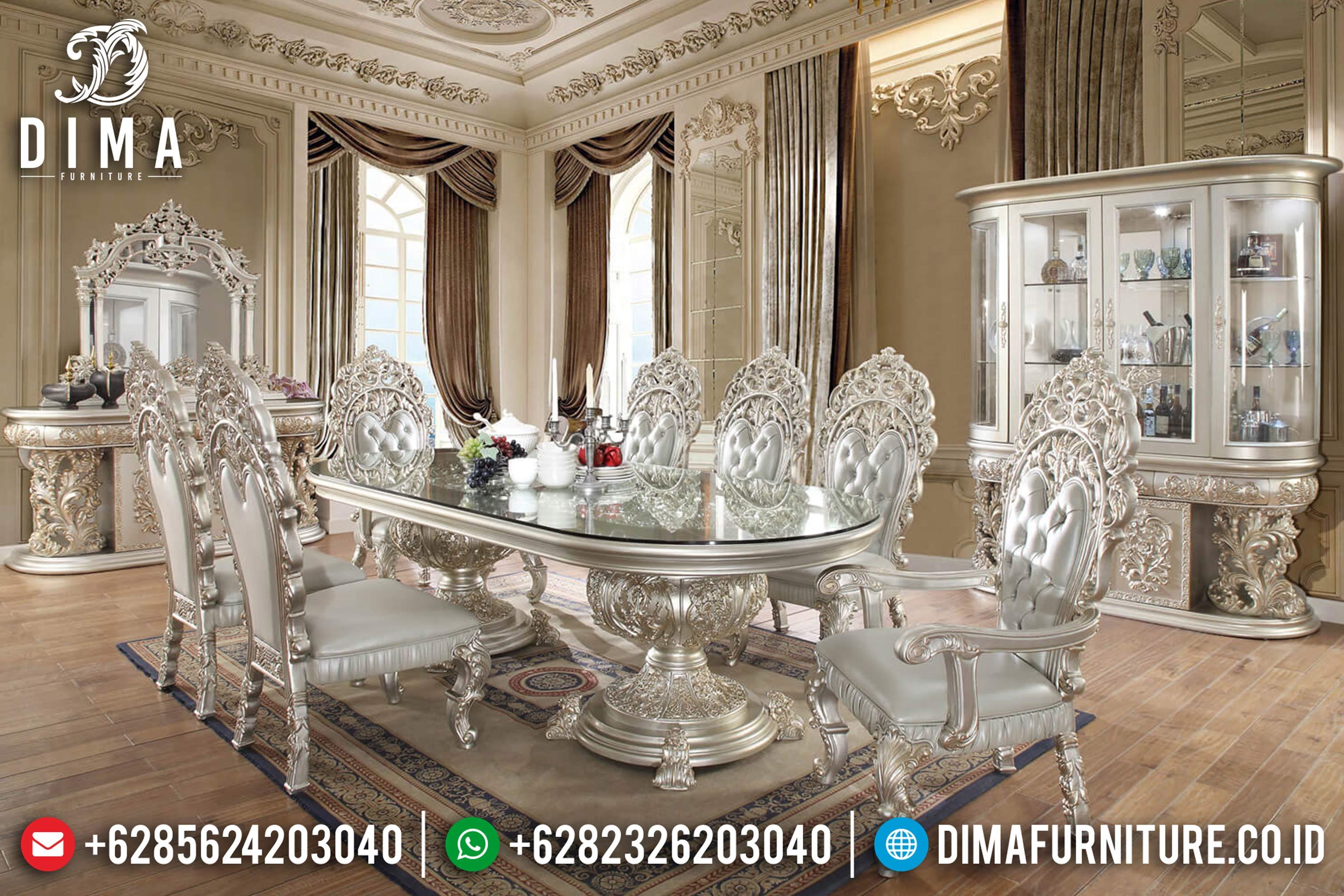 Classic Furniture Sale Meja Makan Jepara Mewah Ukiran Klasik Terbaru DF-0624