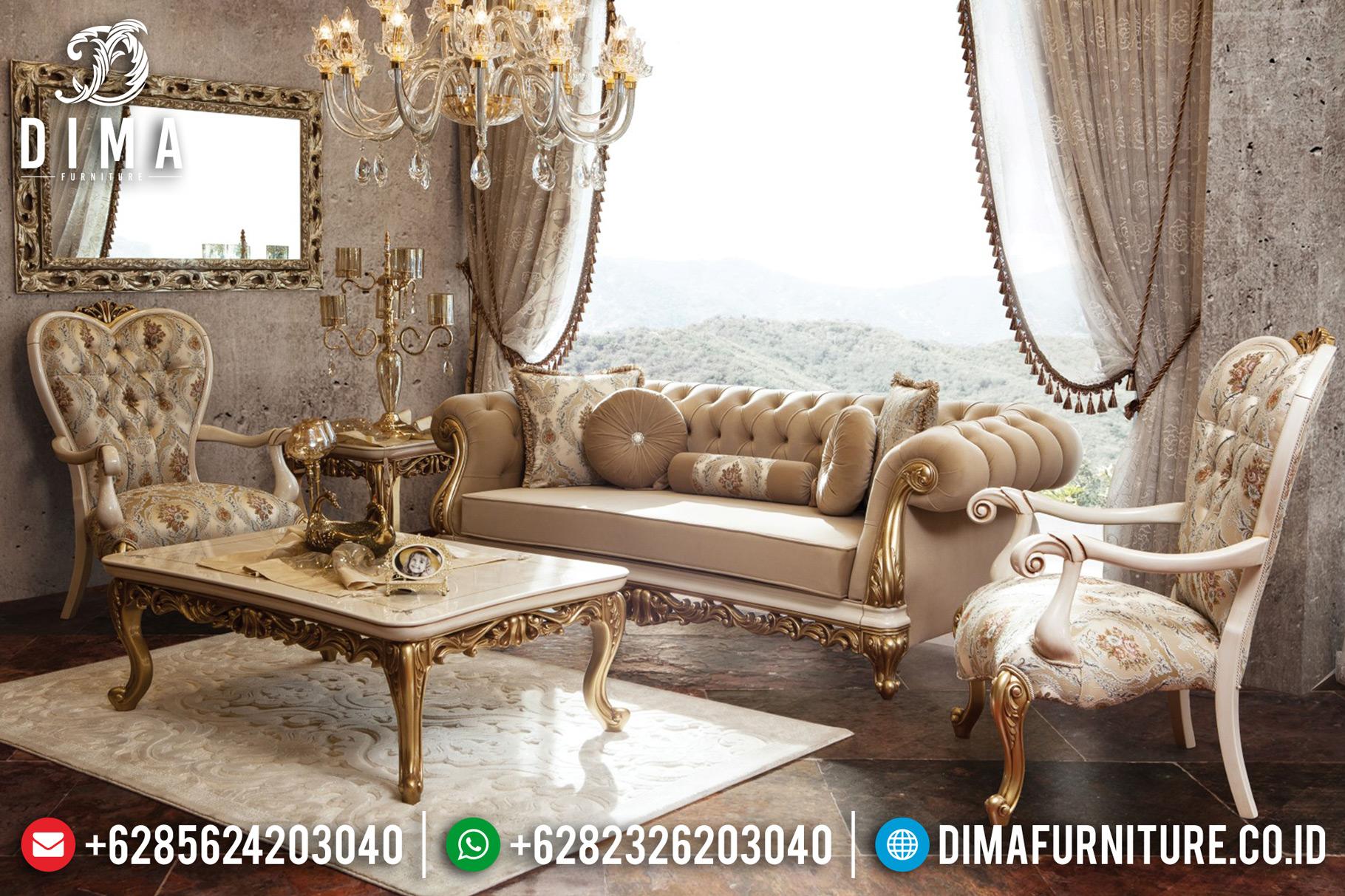 Mebel Terbaru Sofa Tamu Jepara Mewah Classic Duco Putih Emas DF-0650