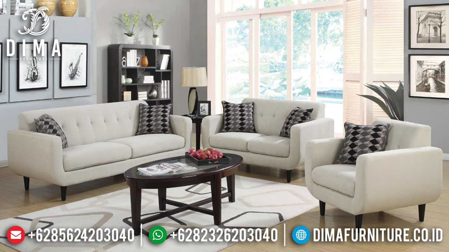 Sofa Tamu Minimalis Jepara Model Rosalie Terbaru Fabric Cover DF-0655