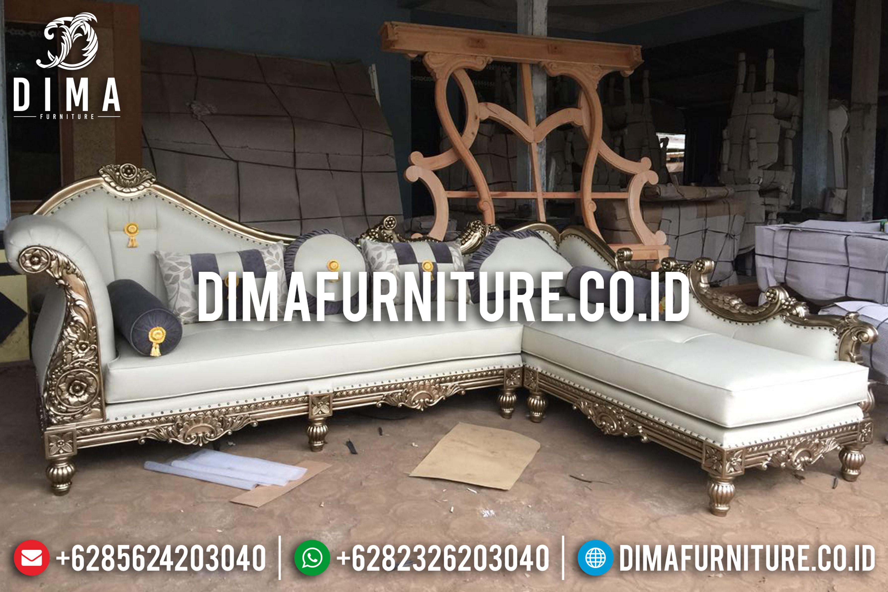 Jual Kursi Sofa Tamu Jepara Mewah Sudut L Klasik Emas Duco Terbaru DF-0666