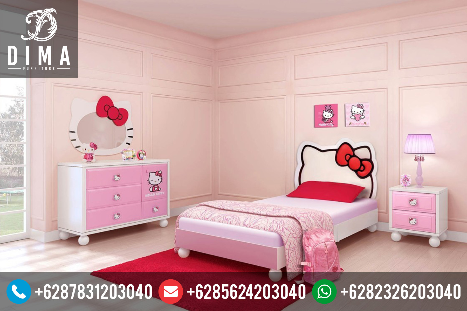 Mebel Jepara Set Kamar Anak Hello Kitty Minimalis Terbaru DF-0001