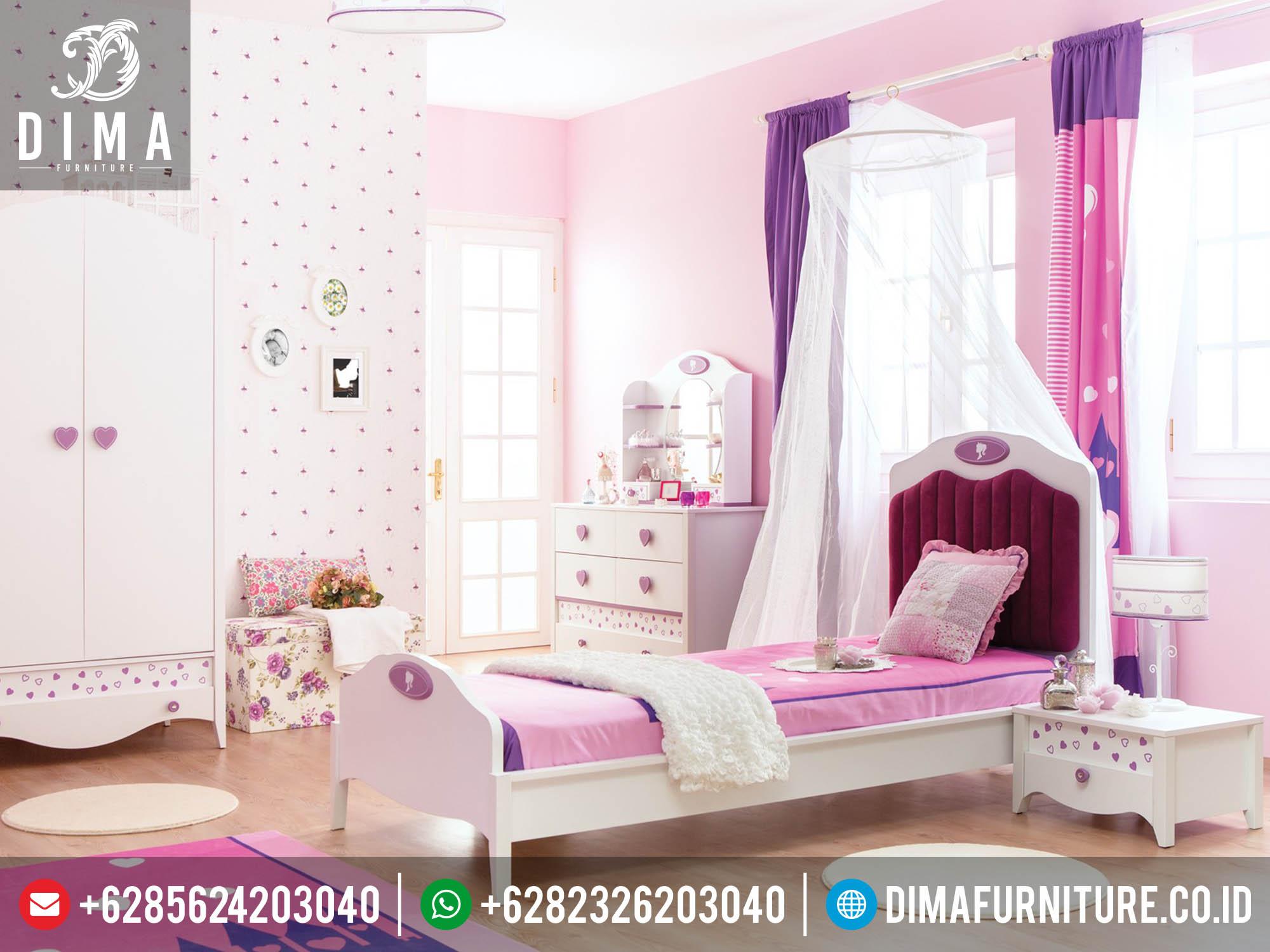 Set Kamar Tidur Anak Perempuan Minimalis Princess Barbie Mewah Jepara DF-0142