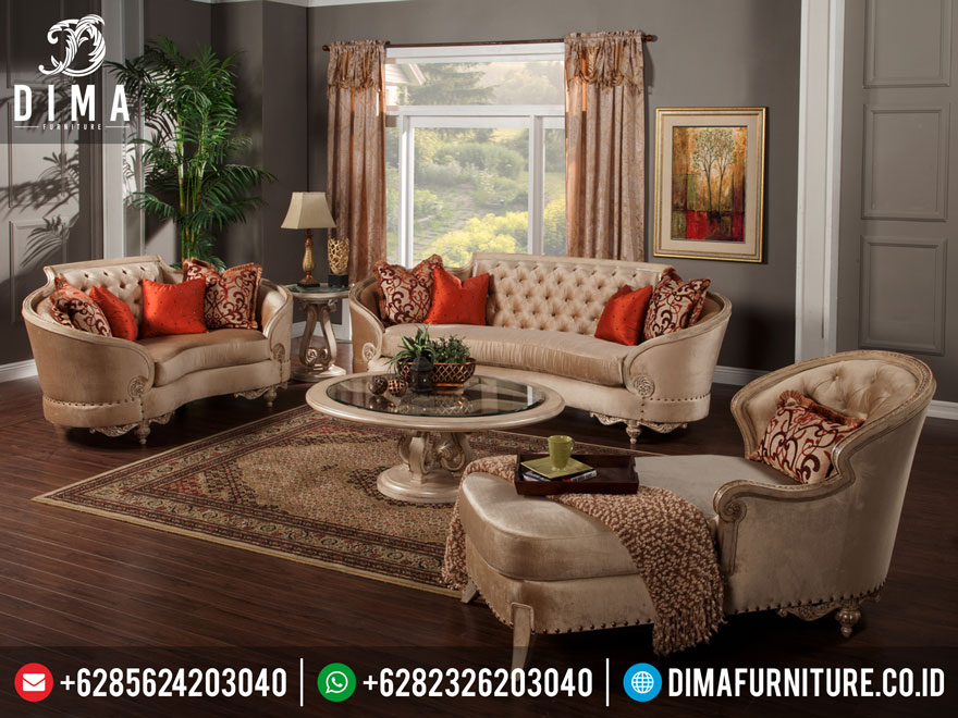 Mebel Tebrbaru Set Kursi Sofa Tamu Klasik Mewah Lengkung DF-0215