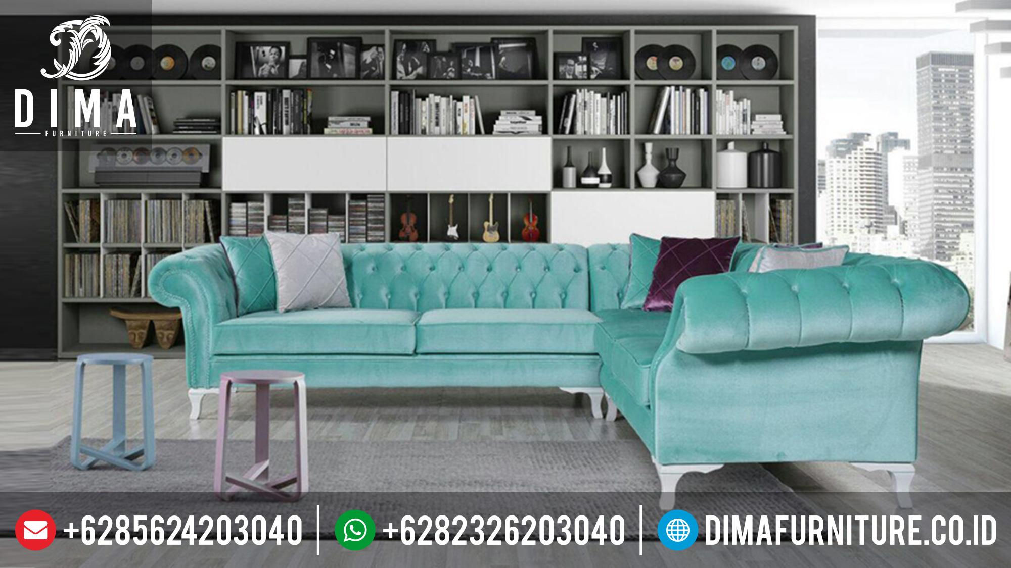 Kursi Sofa Tamu Sudut L Minimalis Mewah Terbaru DF-0341 Gambar 1