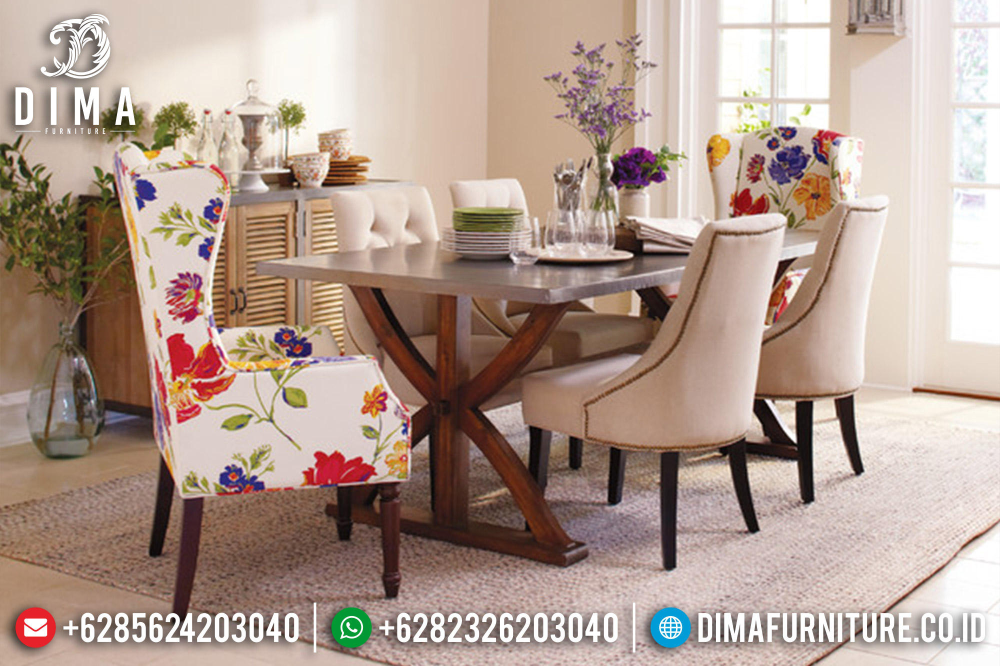 1 Set Meja Makan Minimalis Jepara Terbaru Florist 6 Kursi DF-0360