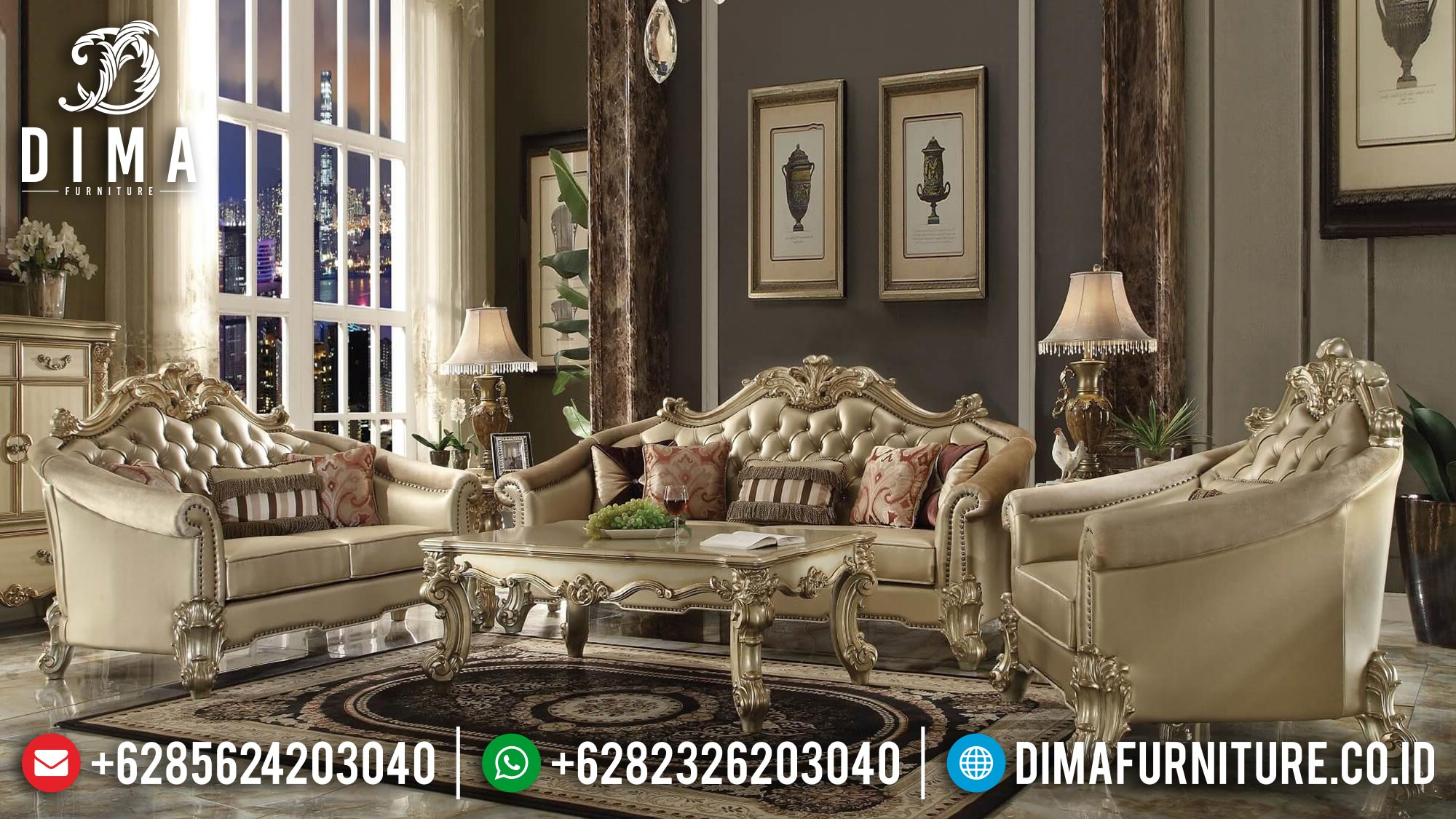 Set Kursi Sofa Tamu Mewah Jepara Ukiran Terbaru Vendom Gold DF-0377