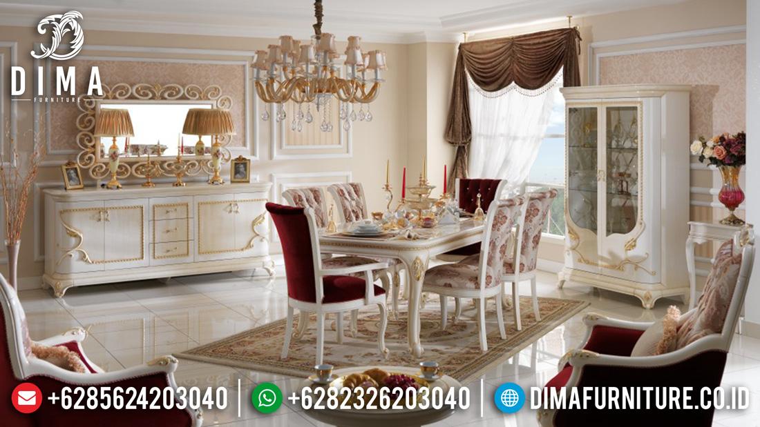 Mebel Jepara Set Meja Makan Minimalis Mewah Duco Putih Emas Terbaru DF-0373