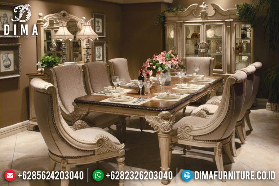 Meja Makan Mewah Ukiran Jepara Klasik Luxury Terbaru Duco Ivory DF-0434
