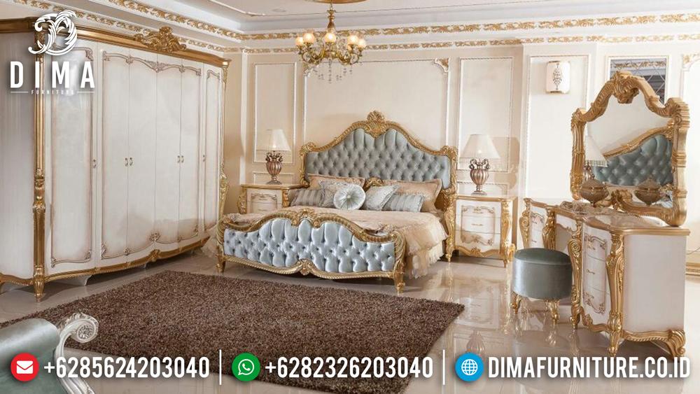 Set Kamar Tidur Jepara Terbaru Mewah Klasik Duco Emas Ivory DF-0428