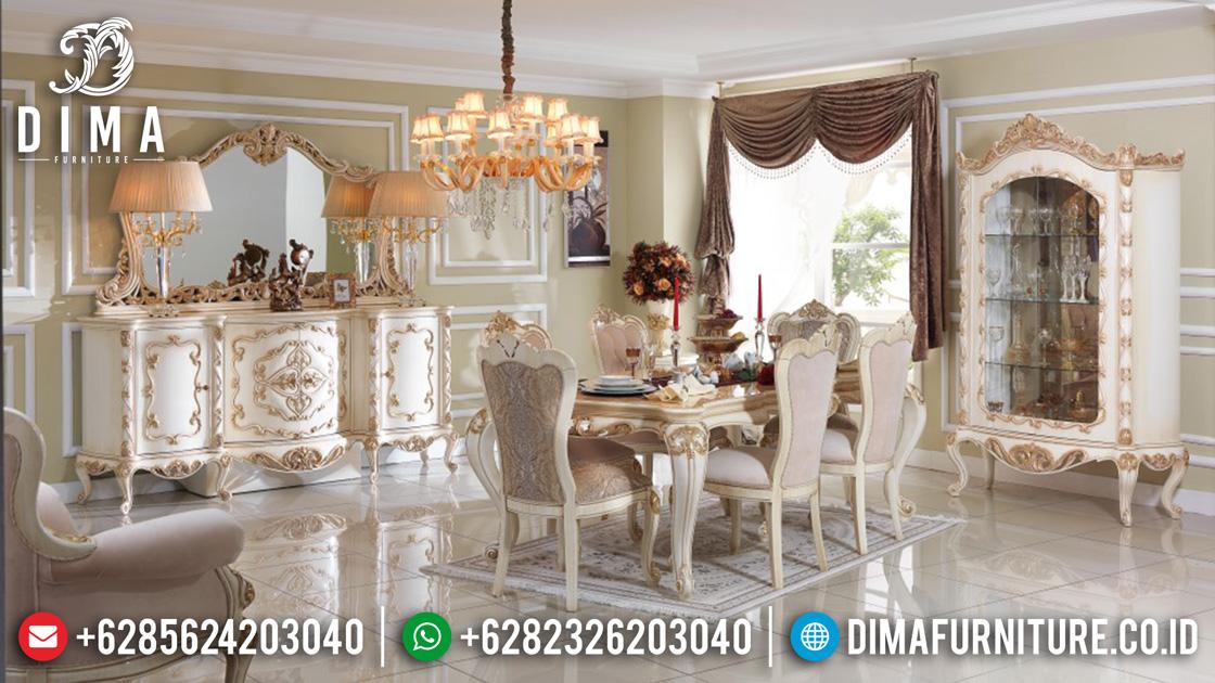 Set Meja Makan Jepara Mewah Ukiran Turki Terbaru Duco Ivory Emas DF-0374
