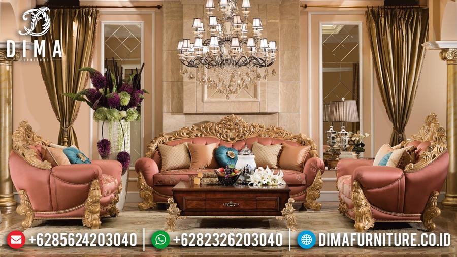 Set Sofa Tamu Mewah Ukir Jepara Waldorf Cat Duco Emas Terbaru DF-0438