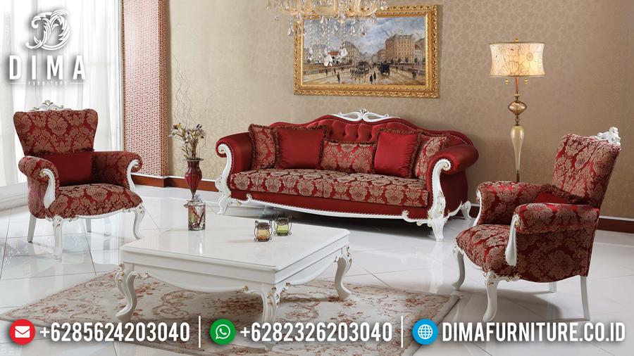 Sofa Ruang Tamu Mewah Minimalis Jepara Terbaru Cat Duco Putih Emas DF-0439