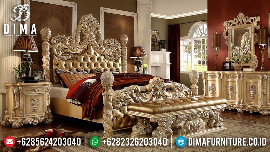 Kamar Set Mewah Jepara, Set Kamar Tidur Klasik, Set Tempat Tidur Pengantin Mewah DF-0455