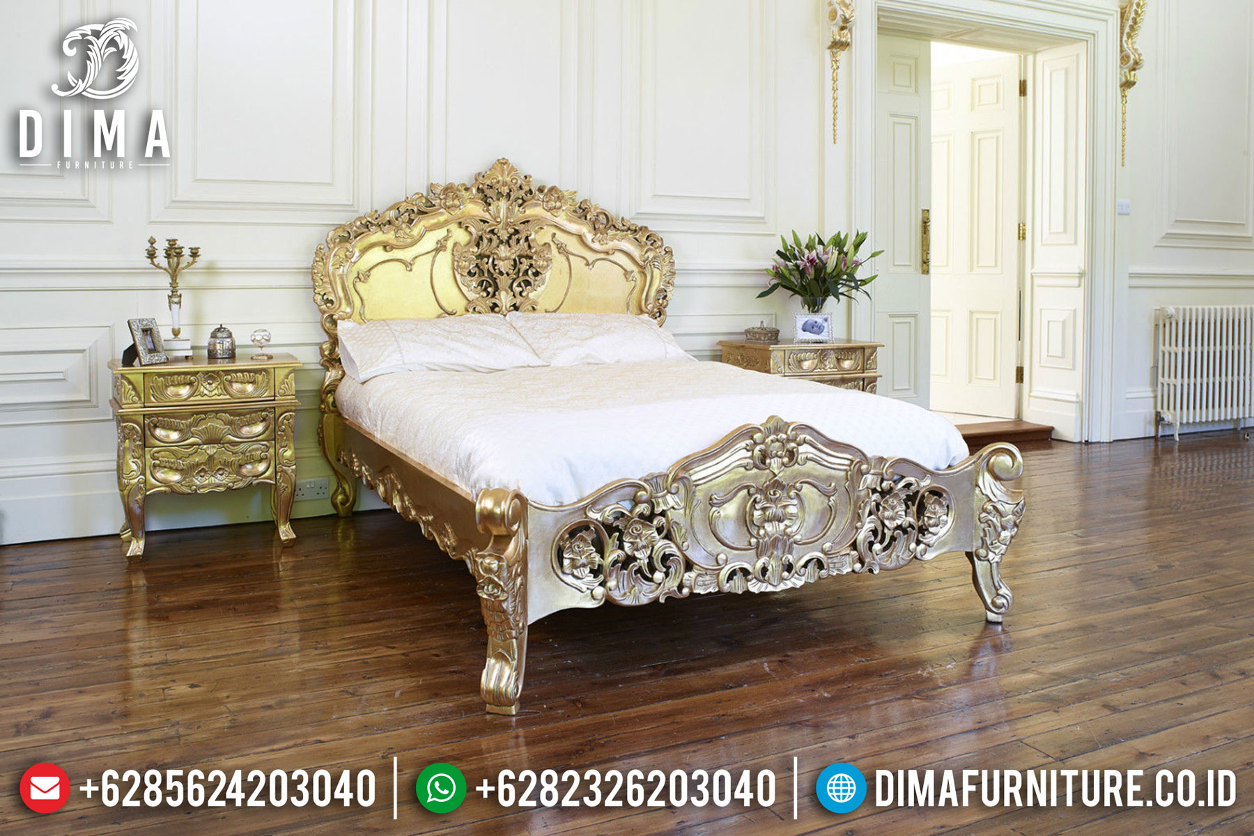 Set Kamar Tidur Mewah Rococo, Tempat Tidur Jepara, Kamar Set Mewah Terbaru DF-0463 Gambar 1